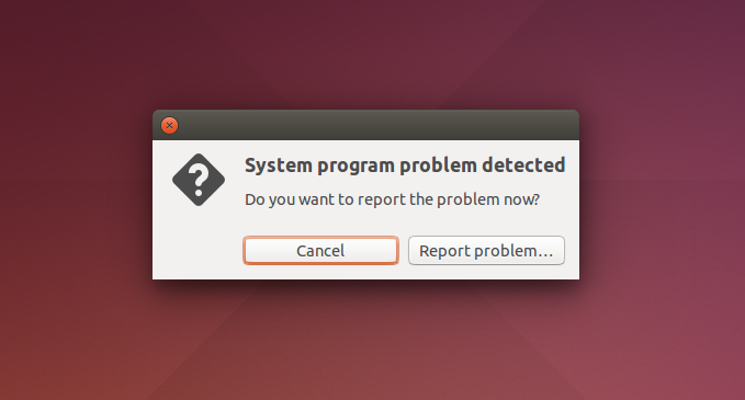 Apport system application crash prompt
